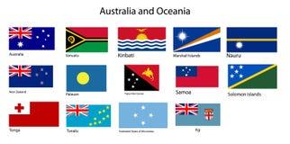 Vetor das bandeiras de Austrália e de Oceania ilustração royalty free