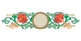 Vetor das beiras do Velho Mundo - quadro telhado no estilo elegante decorativo da estrutura das folhas e das flores da planta ilustração stock
