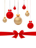 Vetor das bolas e das curvas do Natal Foto de Stock Royalty Free