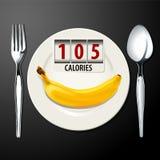 Vetor das calorias na banana Fotos de Stock