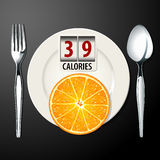 Vetor das calorias na laranja Fotos de Stock Royalty Free