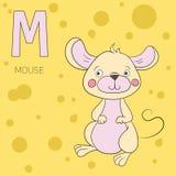 Vetor das crianças do rato da letra M do alfabeto Foto de Stock Royalty Free