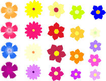 Vetor das flores coloridas isoladas em um branco Imagens de Stock Royalty Free