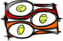 Vetor das imagens da raquete de tênis Imagens de Stock