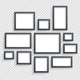 Vetor das molduras para retrato Galeria de arte da foto Coleção vazia escura na parede Imagem de Stock Royalty Free