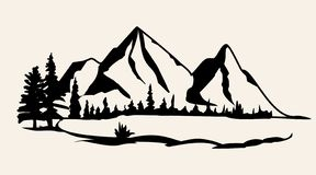 Vetor das montanhas Ilustração isolada silhueta do vetor da cordilheira ilustração do vetor