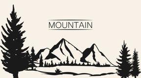 Vetor das montanhas Silhueta da cordilheira isolada Ilustração do vetor da montanha foto de stock royalty free