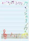 Vetor das notas musicais no caderno ou no quadro, beira Fotografia de Stock