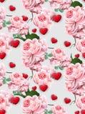 Vetor das rosas e dos corações do teste padrão do dia de Valentim Imagem de Stock