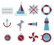 Vetor de ícones náuticos e marinhos Foto de Stock Royalty Free