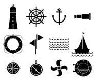 Vetor de ícones náuticos e marinhos pretos Fotografia de Stock Royalty Free