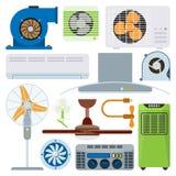 Vetor de acondicionamento dos refrigeradores da temperatura da tecnologia do fã do clima do equipamento dos ventiladores da condi Fotografia de Stock