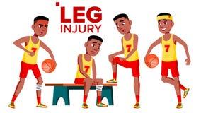 Vetor de assentamento de With Leg Injury do atleta do desportista do basquetebol Ilustração isolada dos desenhos animados ilustração royalty free