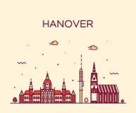 Vetor de Baixa Sax?nia Alemanha da skyline de Hanover linear ilustração stock