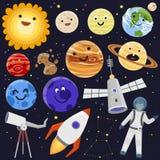 Vetor de canela futuro do foguete do cosmonauta do navio de espaço da exploração do sistema solar da nave espacial dos planetas d Foto de Stock