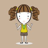 Vetor de desenhos animados da menina do ajuste Foto de Stock Royalty Free
