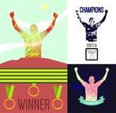 Vetor de Digitas, desportistas abstratos do vencedor Imagens de Stock Royalty Free