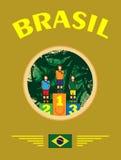 Vetor de Digitas, sportman abstrato Brasil do vencedor Fotografia de Stock