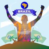 Vetor de Digitas, sportman abstrato do vencedor de Brasil Foto de Stock