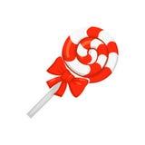 Vetor de doces doces, pirulito redondo do caramelo isolado no branco Estilo dos desenhos animados Imagens de Stock Royalty Free