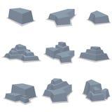 Vetor de elemento ajustado da pedra Imagens de Stock Royalty Free