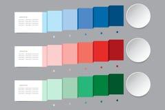 Vetor de Infographic nas máscaras do showin da cor azul, vermelha e verde Imagens de Stock