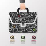 Vetor de Infographics Linha molde do diagrama do projeto do saco do negócio do estilo ilustração do vetor