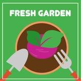 Vetor de jardinagem Art Logo Template da ilustração e ilustração Fotografia de Stock Royalty Free