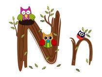 Vetor de madeira da coruja da letra N Fotografia de Stock Royalty Free