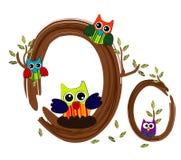 Vetor de madeira da coruja da letra O Foto de Stock Royalty Free