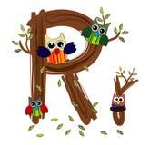 Vetor de madeira da coruja da letra R Fotografia de Stock