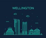 Vetor de Nova Zelândia da skyline da cidade de Wellington linear ilustração stock