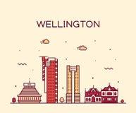 Vetor de Nova Zelândia da skyline da cidade de Wellington linear ilustração royalty free
