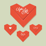 Vetor de papel vermelho do coração do origâmi Imagens de Stock Royalty Free