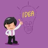 Vetor de pensamento da ideia da lâmpada do desenho do homem Imagens de Stock Royalty Free