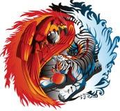 Vetor de Phoenix e de tigre Fotos de Stock