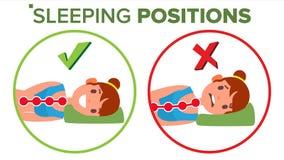 Vetor de posição do sono descanso Curvatura da espinha humana nee Apoio da espinha Cama confortável Comparativo isolado ilustração royalty free