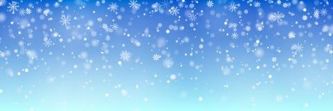 Vetor de queda da neve do Natal isolado no fundo azul Efeito transparente da decoração do floco de neve ilustração royalty free