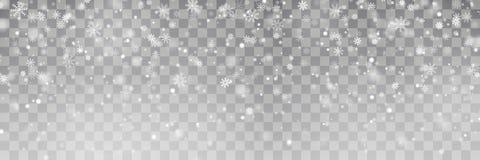 Vetor de queda da neve do Natal isolado no fundo Efeito transparente da decoração do floco de neve Xmas ilustração do vetor