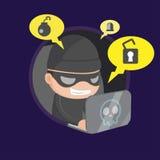 Vetor de Robbery Network Cartoon do ladrão do hacker Ilustração do Vetor