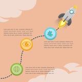 Vetor de Rocket Soar Info Graphic Presentation ilustração stock