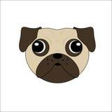 Vetor de uma cara dos Pugs Fotos de Stock