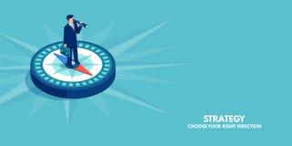 Vetor de uma posição do homem de negócios no sentido da exibição do compasso Símbolo da estratégia, visão futura ilustração stock