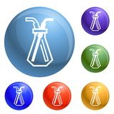 Vetor de vidro químico do grupo dos ícones da pipeta ilustração stock