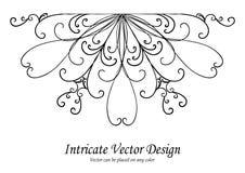 Vetor decorativo do elemento do projeto, beira ou borda scalloped do laço com ondas e redemoinhos no teste padrão simétrico, casa Fotografia de Stock Royalty Free