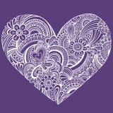 Vetor delicado do coração de Paisley do Henna Imagem de Stock Royalty Free