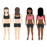 Vetor dianteiro e traseiro do corpo da mulher da vista Imagens de Stock