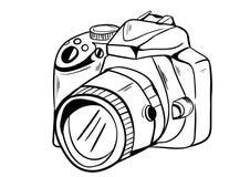 Vetor do ícone da câmera com estilo da garatuja Fotografia de Stock