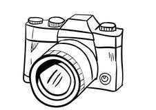 Vetor do ícone da câmera com estilo da garatuja Imagem de Stock Royalty Free