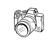 Vetor do ícone da câmera com estilo da garatuja Fotos de Stock Royalty Free